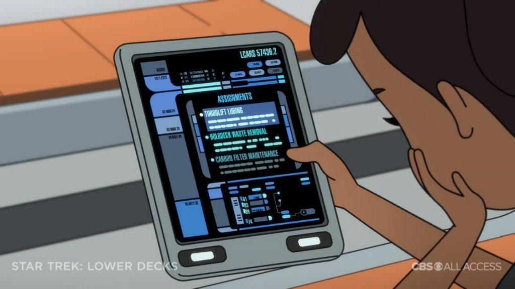 PAD com LCARS e data estelar - Star Trek: Lower Deck Trailer